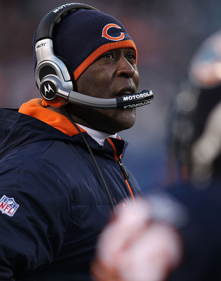 CHICAGO - NOVEMBER 28: Head coach Lovie Smith of the Chicago Bears watches as his team takes on the Philadelphia Eagles at Soldier Field on November 28, 2010 in Chicago, Illinois. The Bears defeated the Eagles 31-26. (Photo by Jonathan Daniel/Getty Images