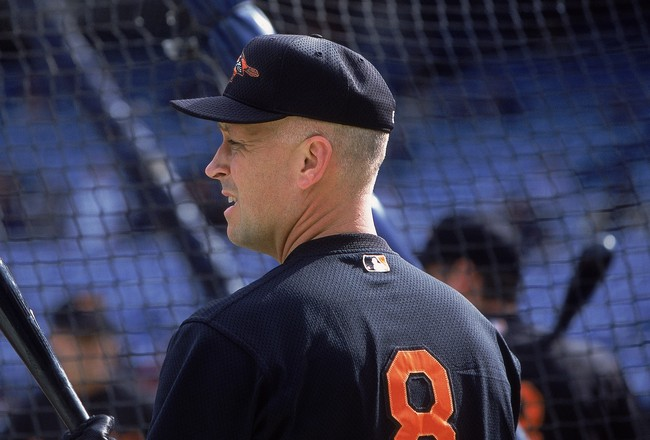 30 Sep 2001:  Cal Ripken Jr #8 of the Baltimore Orioles waits for batting practice before the game against the New York Yankees at Yankee Stadium in the Bronx, New York.  The Orioles tied the Yankees 1-1 before the game was called due to rainMandatory Cre