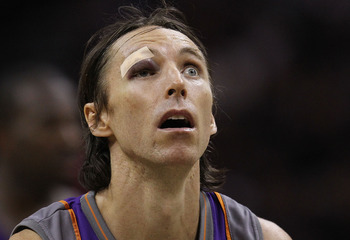 SAN ANTONIO - MAY 09:  Guard Steve Nash #13 of the Phoenix Suns at the free throw line after receiving six stitches to his eye against the San Antonio Spurs in Game Four of the Western Conference Semifinals during the 2010 NBA Playoffs at AT&T Center on M