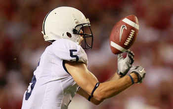 TUSCALOOSA, AL - SEPTEMBER 11:  Graham Zug #5 of the Penn State Nittany Lions fails to pull in this reception against the Alabama Crimson Tide at Bryant-Denny Stadium on September 11, 2010 in Tuscaloosa, Alabama.  (Photo by Kevin C. Cox/Getty Images)