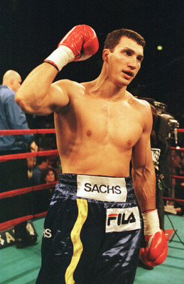 29 Apr 2000:  Wladimir Klitscho of Ukraine celebrates after he defeated David Bostice of Mesa, Arizona in their WBA Intercontinental Heavyweight bout at Madison Square Garden in New York City.  Klitscho won by TKO in the second round. Mandatory Credit: Al