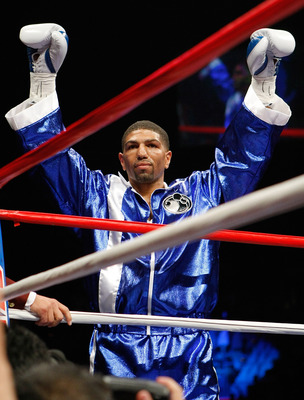 LAS VEGAS - APRIL 11:  Winky Wright raises his arms as he enters the ring for his middleweight bout against Paul Williams at the Mandalay Bay Events Center April 11, 2009 in Las Vegas, Nevada. Williams won by unanimous decision.  (Photo by Ethan Miller/Ge