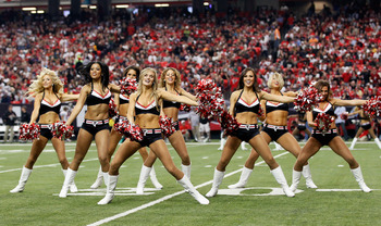 ATLANTA - NOVEMBER 07:  The Atlanta Falcons cheerleaders peform during the game against the Tampa Bay Buccaneers at Georgia Dome on November 7, 2010 in Atlanta, Georgia.  (Photo by Kevin C. Cox/Getty Images)