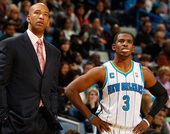 NEW ORLEANS, LA - DECEMBER 26:  Head coach Monty Williams talks with Chris Paul #3 of the New Orleans Hornets during the game against the Atlanta Hawks at the New Orleans Arena on December 26, 2010 in New Orleans, Louisiana.  NOTE TO USER: User expressly