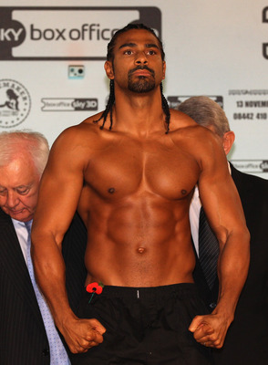 MANCHESTER, ENGLAND - NOVEMBER 12:  David Haye stands on the scales at the official weigh-in at The Lowry Theatre on November 12, 2010 in Manchester, England.  (Photo by Alex Livesey/Getty Images)