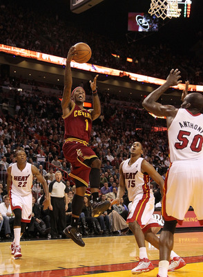 MIAMI, FL - DECEMBER 15:  Daniel Gibson #1 of the Cleveland Cavaliers shoots a runner during a game against the Miami Heat at American Airlines Arena on December 15, 2010 in Miami, Florida. NOTE TO USER: User expressly acknowledges and agrees that, by dow
