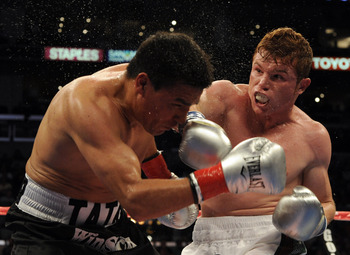 LOS ANGELES, CA - SEPTEMBER 18:  Saul Alvarez of Mexico hits Carlos Baldomir of Argentina in the WBC Super Welterweight Silver Title fight at Staples Center on September 18, 2010 in Los Angeles, California.  (Photo by Harry How/Getty Images)