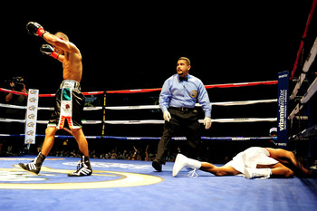 LOS ANGELES - AUGUST 27:  Abner Mares of Norwalk, California knocks out opponent Carlos Fugencio on August 27, 2009 in Los Angeles, California.  (Photo by Jacob de Golish/Getty Images)