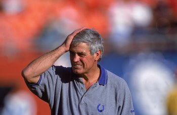 17 Dec 2000: Head Coach Jim Mora of the Indianapolis Colts reacts to a play during the game against the Miami Dolphins at the Pro Player Stadium in Miami, Florida. The Colts defeated the Dolphins 20-13.Mandatory Credit: Eliot J. Schechter  /Allsport