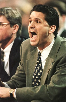22 Mar 1996: Coach John Calipari of UMass shouts instructions to his team during the first half of the NCAA East Regional Men''s Basketball game played at the Georgia Dome in Atlanta, Georgia.