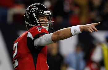 ATLANTA, GA - DECEMBER 27:  Quarterback Matt Ryan #2 of the Atlanta Falcons looks upfield during warm-ups prior to the start of the game against the New Orleans Saints at the Georgia Dome on December 27, 2010 in Atlanta, Georgia.  (Photo by Scott Halleran