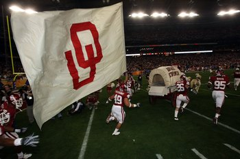 GLENDALE, AZ - JANUARY 02:  Oklahoma Sooner Schooner runs onto the field as the Sooner players follow before the Sooners take on the West Virginia Mountaineers at the Tostito's Fiesta Bowl at University of Phoenix Stadium January 2, 2008 in Glendale, Ariz
