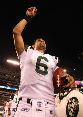 EAST RUTHERFORD, NJ - SEPTEMBER 19:  Mark Sanchez #6 of the New York Jets celebrates a 28-14 win against the New England Patriots on September 19, 2010 at the New Meadowlands Stadium  in East Rutherford, New Jersey.  (Photo by Al Bello/Getty Images)