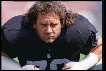 6 Oct 1991: Left tackle Bob Golic of the Los Angeles Raiders warms up before a game against the San Diego Chargers at the Los Angeles Coliseum in Los Angeles, California. The Chargers won the game 21-13.