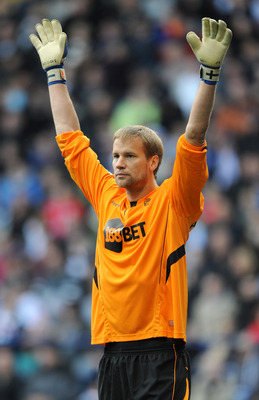 BOLTON, ENGLAND - OCTOBER 16: Jussi Jaaskelainen of Bolton Wanderers during the Barclays Premier League match between Bolton Wanderers and Stoke City at Reebok Stadium on October 16, 2010 in Bolton, England.  (Photo by Chris Brunskill/Getty Images)