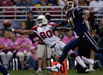 ST. LOUIS, MO - OCTOBER 7:  Bryant Johnson #80 of the Arizona Cardinals attempts to catch a pass against Lenny Walls #27 of the St. Louis Rams at the Edward Jones Dome October 7, 2007 in St. Louis, Missouri. The Cardinals beat the Rams 34-31.  (Photo by D