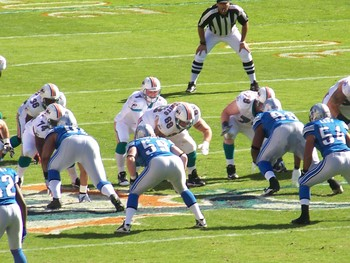 Lions at the ready to defend against the Dolphins.
