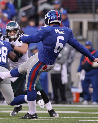 EAST RUTHERFORD, NJ - DECEMBER 19:  Matt Dodge #6 of the New York Giants punts against the Philadelphia Eagles at New Meadowlands Stadium on December 19, 2010 in East Rutherford, New Jersey.  (Photo by Nick Laham/Getty Images)