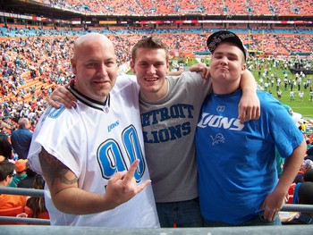 HaMMeR, Geoffery, and Shay the birthday boy who would celebrate his first Detroit Lions game in style!