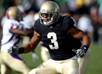 SOUTH BEND, IN - OCTOBER 30: Michael Floyd #3 of the Notre Dame Fighting Irish looks to block against the Tulsa Golden Hurricane at Notre Dame Stadium on October 30, 2010 in South Bend, Indiana. Tulsa defeated Notre Dame 28-27. (Photo by Jonathan Daniel/G