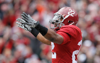 TUSCALOOSA, AL - NOVEMBER 26:  Mark Ingram #22 of the Alabama Crimson Tide reacts after rushing for a touchdown against the Auburn Tigers at Bryant-Denny Stadium on November 26, 2010 in Tuscaloosa, Alabama.  (Photo by Kevin C. Cox/Getty Images)
