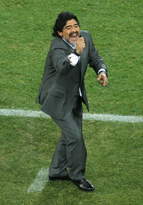 JOHANNESBURG, SOUTH AFRICA - JUNE 27:  Diego Maradona head coach of Argentina gestures during the 2010 FIFA World Cup South Africa Round of Sixteen match between Argentina and Mexico at Soccer City Stadium on June 27, 2010 in Johannesburg, South Africa.