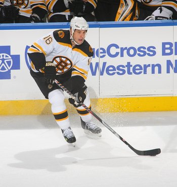 BUFFALO, NY - APRIL 15: Marco Sturm #16 of the Boston Bruins skates against the Buffalo Sabres  in Game One of the Eastern Conference Quarterfinals during the 2010 NHL Stanley Cup Playoffs at HSBC Arena on April 15, 2010 in Buffalo, New York.  (Photo by R