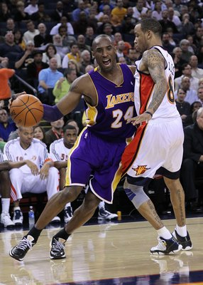 OAKLAND, CA - MARCH 15:  Kobe Bryant #24 of the Los Angeles Lakers in action against the Golden State Warriors during an NBA game at Oracle Arena on March 15, 2010 in Oakland, California. NOTE TO USER: User expressly acknowledges and agrees that, by downl