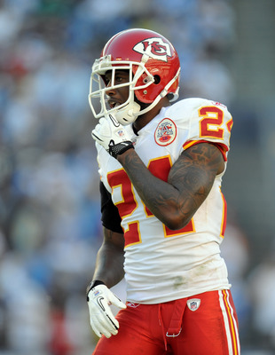 SAN DIEGO, CA - DECEMBER 12:  Brandon Flowers #24 of the Kansas City Chiefs at the line of scrimmage against the San Diego Chargers at Qualcomm Stadium on December 12, 2010 in San Diego, California.  (Photo by Harry How/Getty Images)