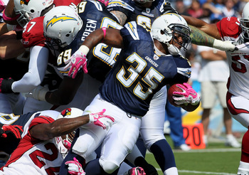 SAN DIEGO - OCTOBER 3:  Running back Mike Tolbert #35 of the San Diego Chargers carries the ball against the Arizona Cardinals at Qualcomm Stadium on October 3, 2010 in San Diego, California.   The Chargers won 41-10.  (Photo by Stephen Dunn/Getty Images)