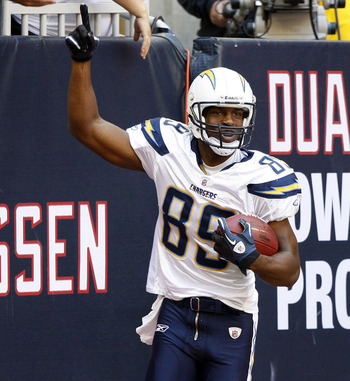 HOUSTON - NOVEMBER 07:  Wide receiver Seyi Ajirotutu #89 of the San Diego Chargers celebrates after a touchdown in the first quarter against the Houston Texans at Reliant Stadium on November 7, 2010 in Houston, Texas.  (Photo by Bob Levey/Getty Images)