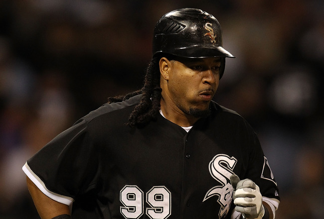 CHICAGO - SEPTEMBER 14: Manny Ramirez #99 of the Chicago White Sox draws a walk in the 6th inning against the Minnesota Twins at U.S. Cellular Field on September 14, 2010 in Chicago, Illinois. (Photo by Jonathan Daniel/Getty Images)