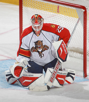 BUFFALO, NY - DECEMBER 23:  Tomas Vokoun #29 of the Florida Panthers pulls in a rebound against the Buffalo Sabres  at HSBC Arena on December 23, 2010 in Buffalo, New York. Florida won 4-3.  (Photo by Rick Stewart/Getty Images)