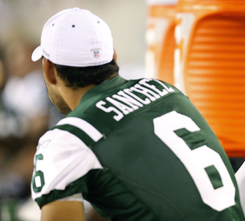 PHILADELPHIA - SEPTEMBER 02: Kellen Clemens #11 sits with Mark Sanchez #6 of the New York Jets during a preseason game against the Philadelphia Eagles at Lincoln Financial Field on September 2, 2010 in Philadelphia, Pennsylvania. (Photo by Jeff Zelevansky