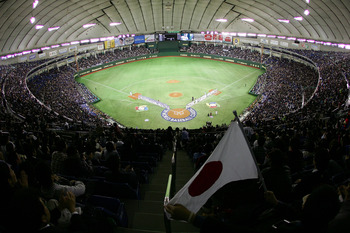 TOKYO - MARCH 09:  General view of Tokyo Dome during the World Baseball Classic Pool A Tokyo Round match between Japan and South Korea at Tokyo Dome on March 9, 2009 in Tokyo, Japan.  (Photo by Koji Watanabe/Getty Images)