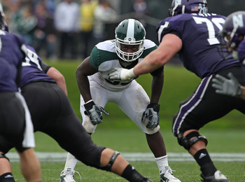 EVANSTON, IL - OCTOBER 23: Greg Jones #53 of the Michigan State Spartans follows the play against the Northwestern Wildcats at Ryan Field on October 23, 2010 in Evanston, Illinois. Michigan State defeated Northwestern 35-27. (Photo by Jonathan Daniel/Gett