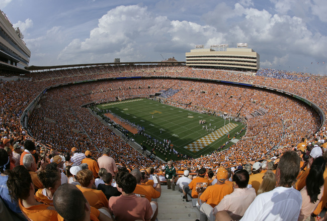 KNOXVILLE, TN - SEPTEMBER 12: A general view during the game between the UCLA Bruins and the Tennessee Volunteers on September 12, 2009 at Neyland Stadium in Knoxville, Tennessee. The Bruins beat the Volunteers 19-15. (Photo by Joe Murphy/Getty Images)