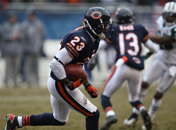 CHICAGO, IL - DECEMBER 26: Devin Hester #23 of the Chicago Bears runs against the New York Jets at Soldier Field on December 26, 2010 in Chicago, Illinois. The Bears defeated the Jets 38-34. (Photo by Jonathan Daniel/Getty Images)