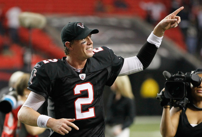 ATLANTA - NOVEMBER 11:  Quarterback Matt Ryan #2 of the Atlanta Falcons runs off the field after their 26-21 win over the Baltimore Ravens at Georgia Dome on November 11, 2010 in Atlanta, Georgia.  (Photo by Kevin C. Cox/Getty Images)