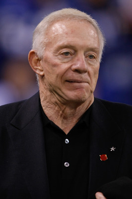 INDIANAPOLIS, IN - DECEMBER 05: Jerry Jones of the Dallas Cowboys looks on in warmups prior to the game against the Indianapolis Colts at Lucas Oil Stadium on December 5, 2010 in Indianapolis, Indiana.  (Photo by Scott Boehm/Getty Images)