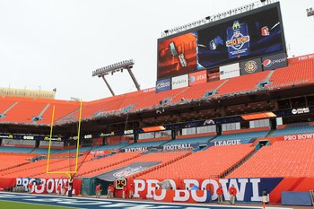 MIAMI GARDENS, FL - JANUARY 31:  Signage is seen during the 2010 AFC-NFC Pro Bowl at Sun Life Stadium on January 31, 2010 in Miami Gardens, Florida.  (Photo by Scott Halleran/Getty Images)