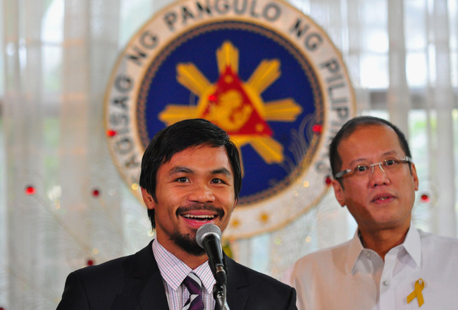 MANILA, PHILIPPINES - NOVEMBER 20:  Boxer and congressman, Manny Pacquiao addresses the audience at Malacanang Palace in Manila following his win of the WBC super welterweight crown against Mexican Antonio Margarito on November 20, 2010 in Manila, Philipp