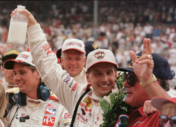 30 May 1999:  Kenny Brack #2 celebrates after winning the Indianapolis 500 with team owner and past champion A.J. Foyt at the Indianapolis 500 in Indianapolis, Indiana. Mandatory Credit: Vincent Laforet/ALLSPORT