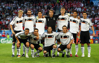 (FILE PHOTO)  KLAGENFURT, AUSTRIA - JUNE 08: The German team pose ahead of the UEFA EURO 2008 Group B match between Germany and Poland at Worthersee Stadion on June 8, 2008 in Klagenfurt, Austria. South Africa will host the draw for the 2010 FIFA World Cu