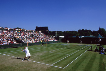 WIMBLEDON - JUNE 26:  General view of Court Number Two as Pete Sampras of the USA is defeated by George Bastl of Switzerland during the second round of the Wimbledon Lawn Tennis Championship held at the All England Lawn Tennis and Croquet Club, in Wimbled
