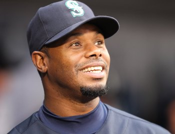 SEATTLE - APRIL 30:  Ken Griffey Jr. #24 of the Seattle Mariners smiles in the dugout prior to the game against the Texas Rangers at Safeco Field on April 30, 2010 in Seattle, Washington. (Photo by Otto Greule Jr/Getty Images)