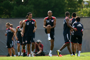 MONTCLAIR, NJ - JULY 16:  Thierry Henry #14 of the New York Red Bulls practices with the team for the first time at Montclair State University on July 16, 2010 in Montclair, New Jersey.  (Photo by Chris Trotman/Getty Images for New York Red Bulls)