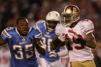 SAN DIEGO, CA - DECEMBER 16:  Running back Mike Tolbert #35 of the San Diego Chargers chases after Ted Ginn #19 of the San Francisco 49ers during a punt return at Qualcomm Stadium on December 16, 2010 in San Diego, California.  (Photo by Donald Miralle/Ge