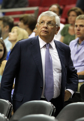 ORLANDO, FL - MAY 04: NBA Commissioner David Stern leaves the arena as the Atlanta Hawks were defeated by the Orlando Magic in Game One of the Eastern Conference Semifinals during the 2010 NBA Playoffs at Amway Arena on May 4, 2010 in Orlando, Florida. Th