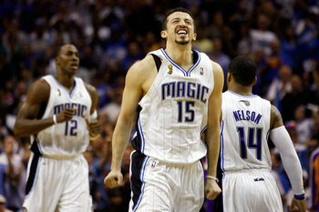 ORLANDO, FL - JUNE 11:  Hedo Turkoglu #15 of the Orlando Magic reacts in the final minute of the fourth quarter in Game Four of the 2009 NBA Finals against the Los Angeles Lakers on June 11, 2009 at Amway Arena in Orlando, Florida.  NOTE TO USER:  User ex